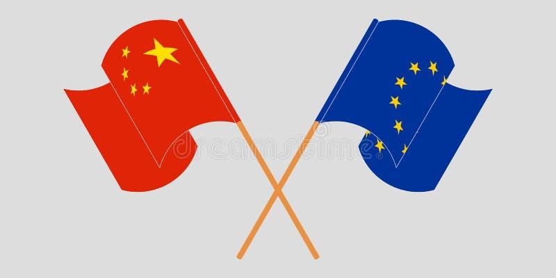 Gekreuzte und flatternde Flaggen der EU und des Porzellans lizenzfreie abbildung