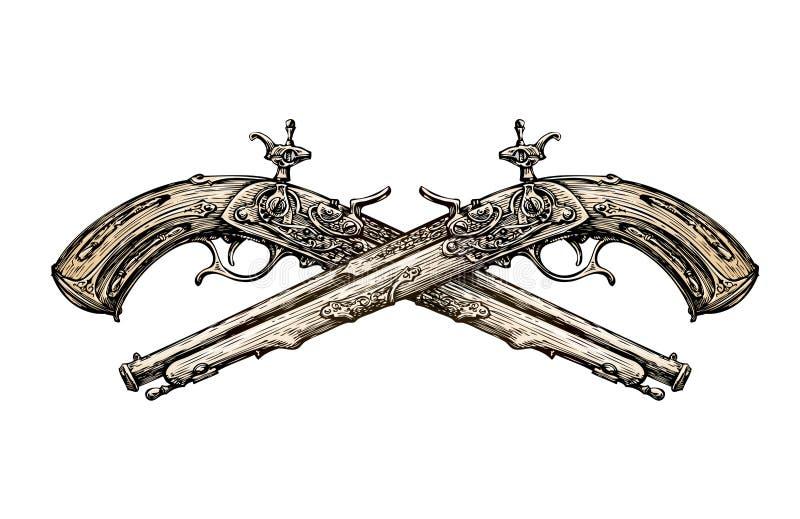 Gekreuzte Weinlese Pistolen Hand gezeichnete alte Waffe der Skizze duell Auch im corel abgehobenen Betrag stock abbildung
