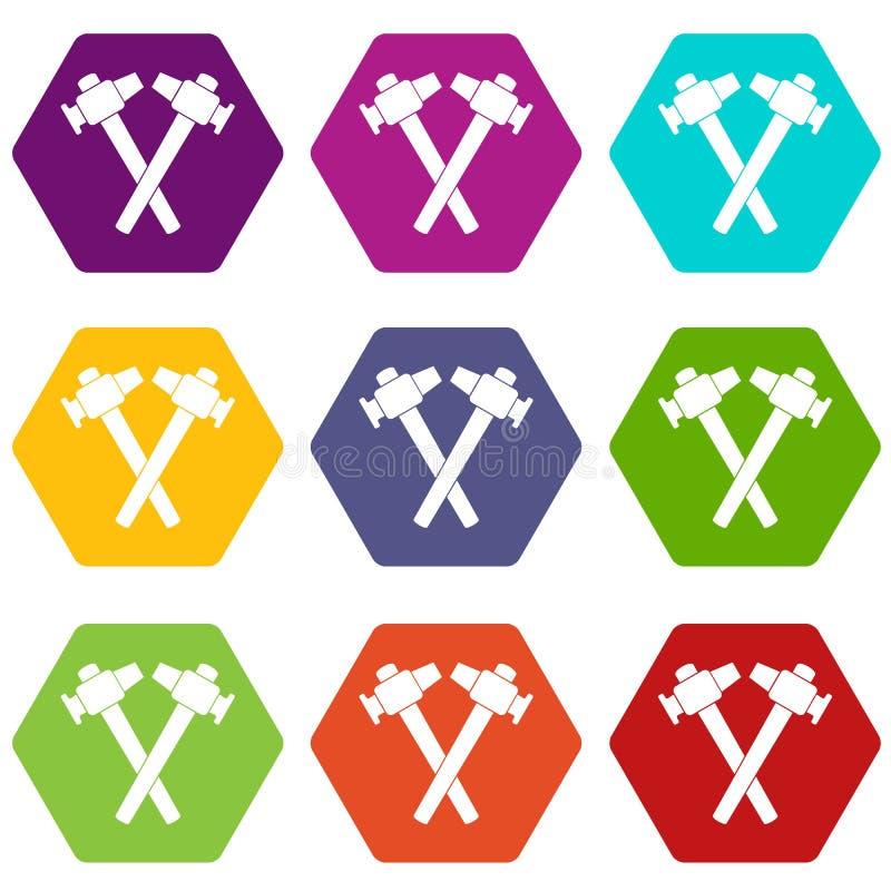 Gekreuztes gesetztes hexahedron Farbe der Schmiedehammerikone lizenzfreie abbildung