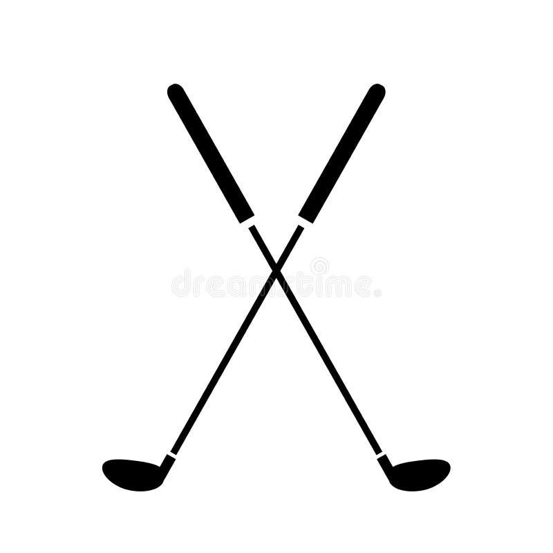 Gekreuztes Golfclub-Ikonen-Logo vektor abbildung