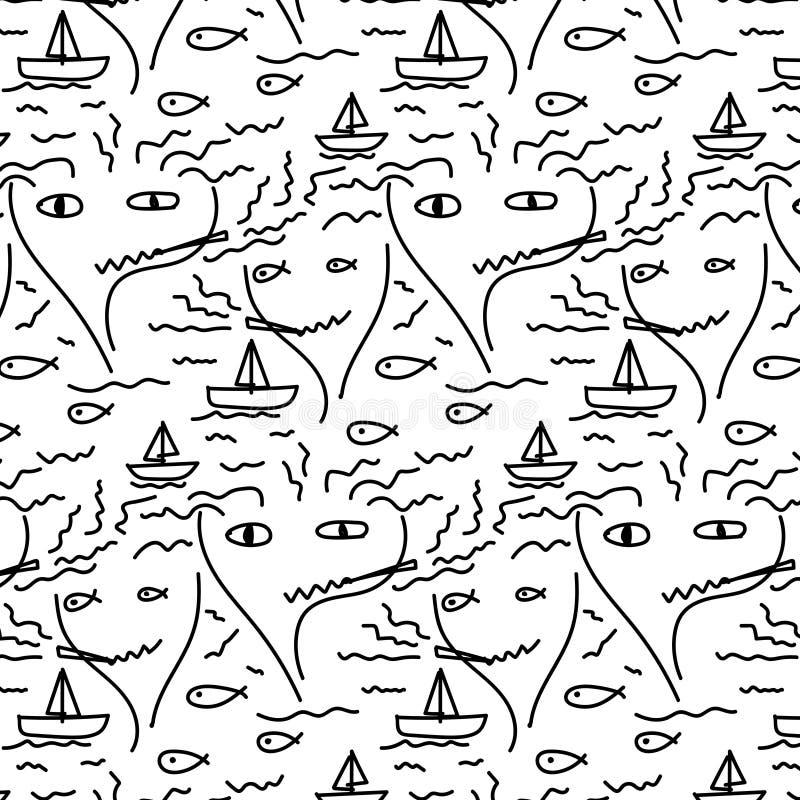 Gekritzel-abstraktes Muster mit Linie Hand gezeichnetes Gesicht, Fisch, Boot, Meer und Rauch lizenzfreie abbildung