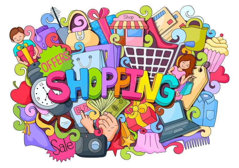 Gekritzel auf Einkaufskonzept stock abbildung
