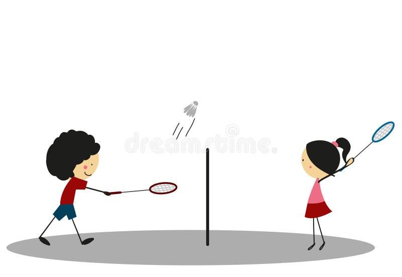 Gekritzel-Badminton-Sport - farbenreich vektor abbildung