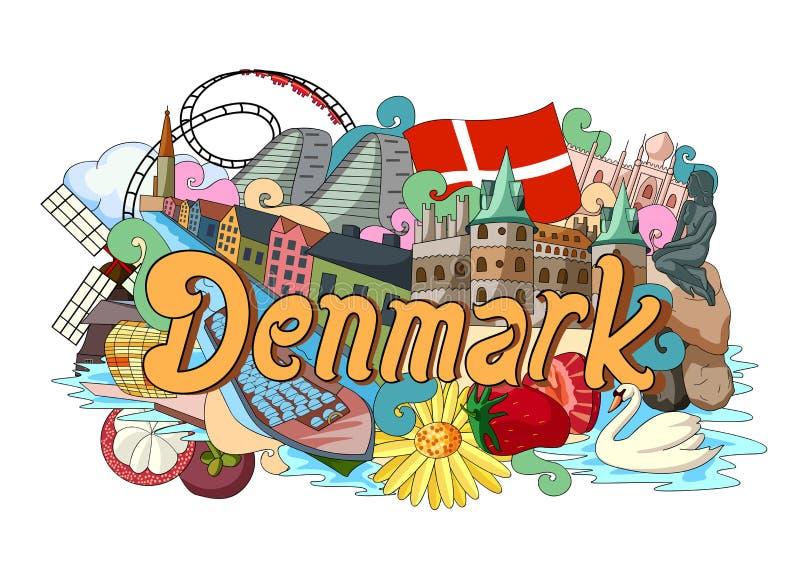 Gekritzel, das Architektur und Kultur von Dänemark zeigt stock abbildung