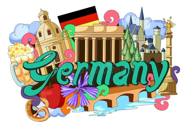 Gekritzel, das Architektur und Kultur von Deutschland zeigt vektor abbildung