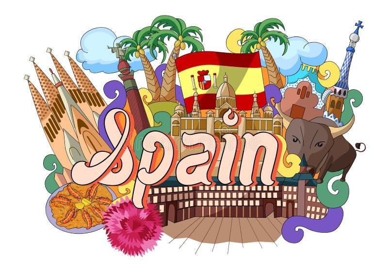 Gekritzel, das Architektur und Kultur von Spanien zeigt stock abbildung
