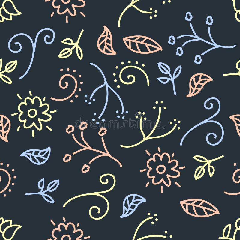 Gekritzel der Blume und des Blattes auf dunklem Hintergrund, Pastellfarbvektor vektor abbildung