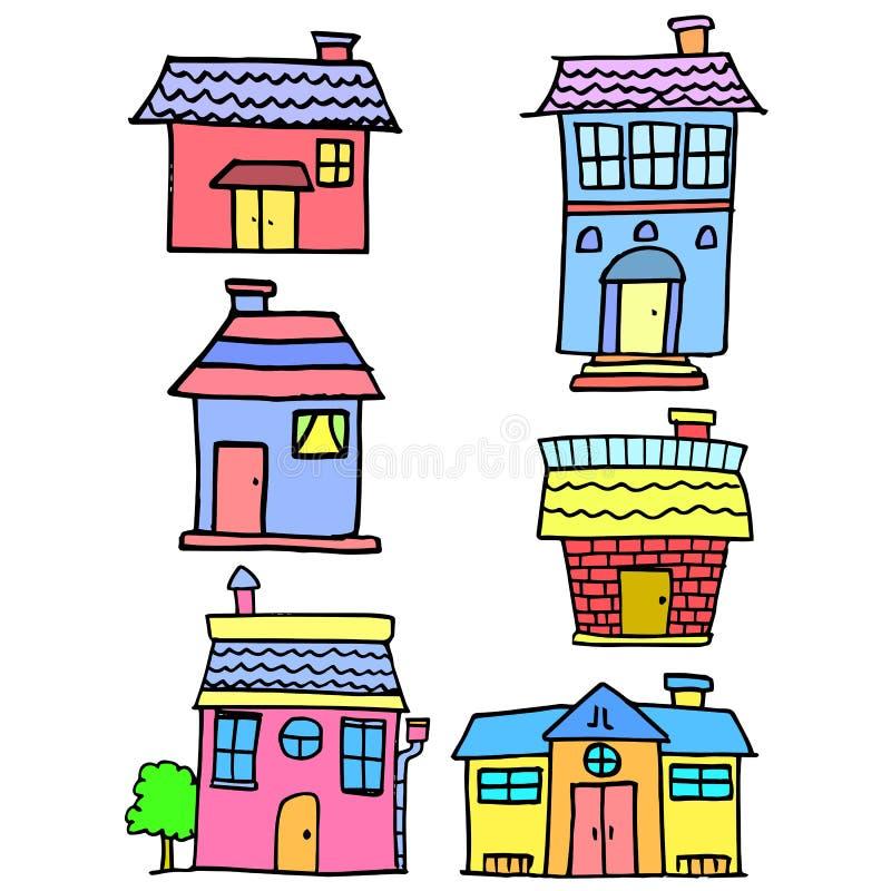 Gekritzel der gesetzten Artkarikatur des Hauses vektor abbildung
