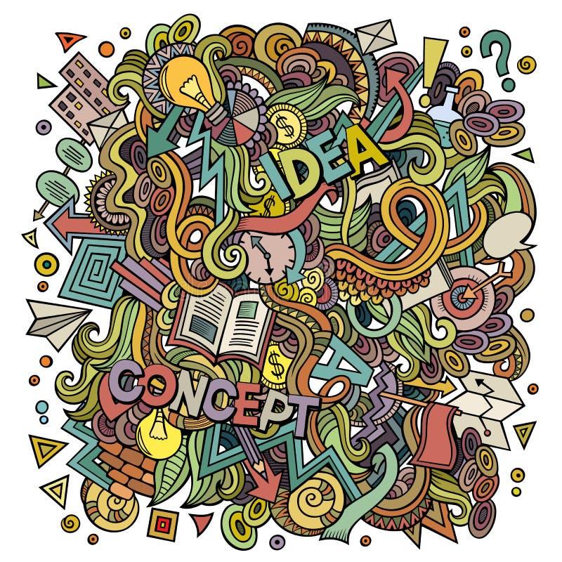 Gekritzel der Karikatur nette Hand gezeichnete Ideenillustration stock abbildung