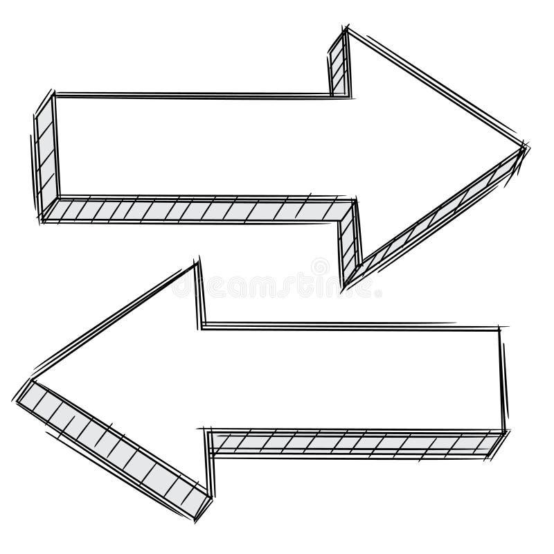 Gekritzel des Pfeiles zeigend link und recht stock abbildung