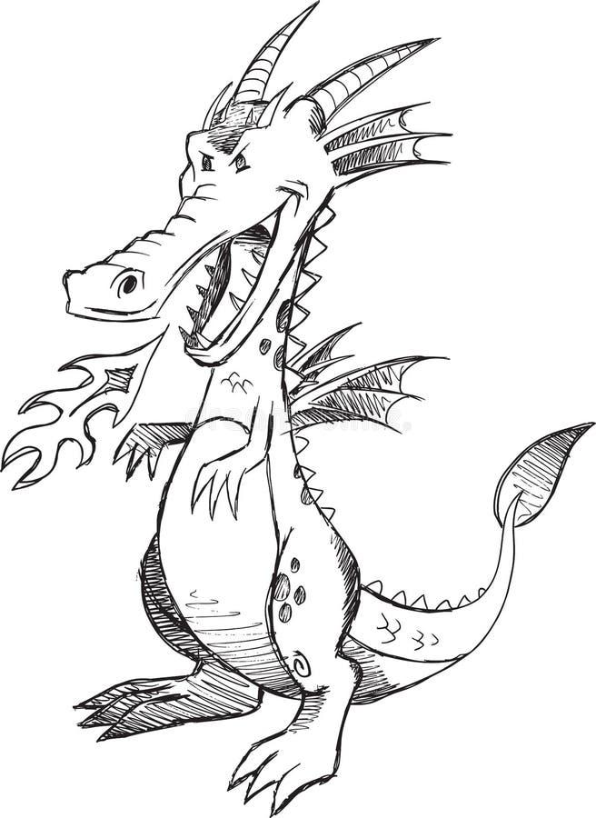 Gekritzel Dragon Vector lizenzfreie abbildung