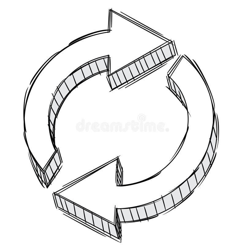 Gekritzel eines Auffrischungpfeilzeichens lizenzfreie abbildung