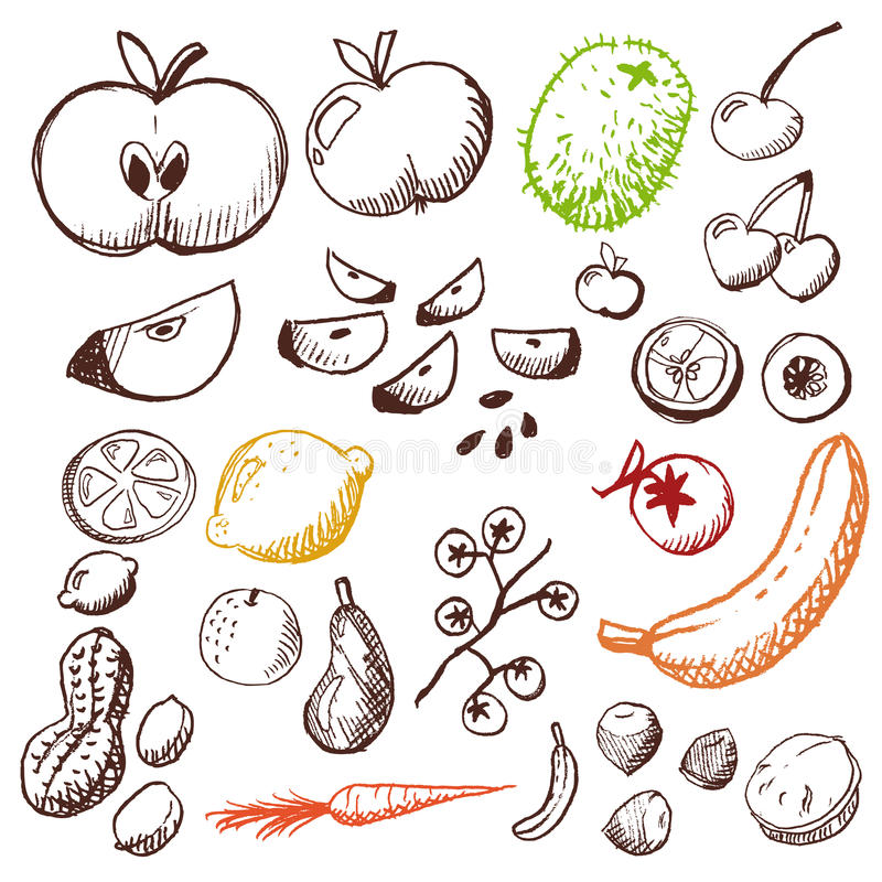 Gekritzel eingestellt - Obst und Gemüse lizenzfreie abbildung
