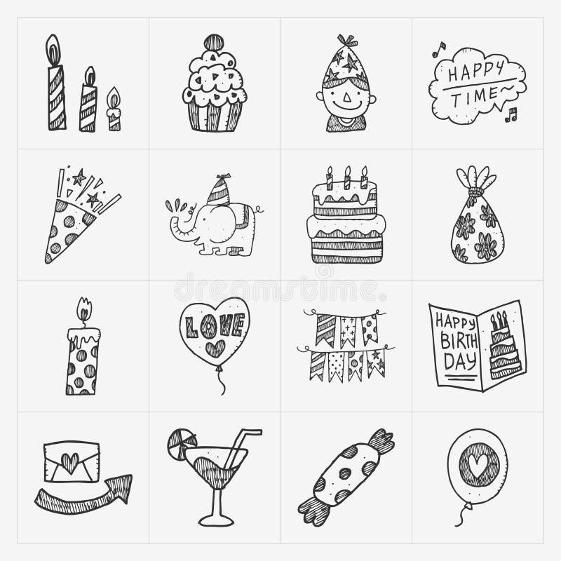 Gekritzel-Geburtstagsfeierikonensatz lizenzfreie abbildung