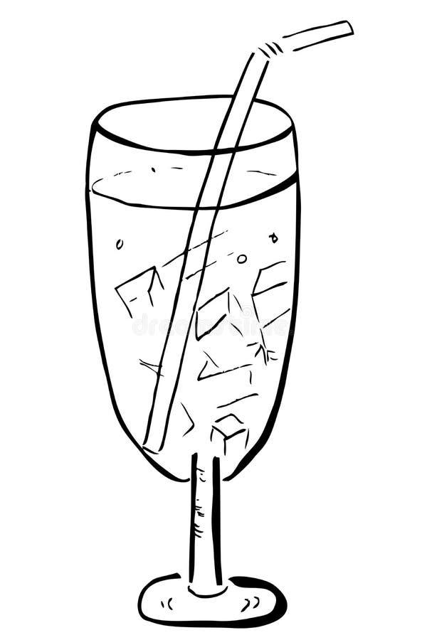 Gekritzel-Glas mit Eis-Würfel und Stroh vektor abbildung