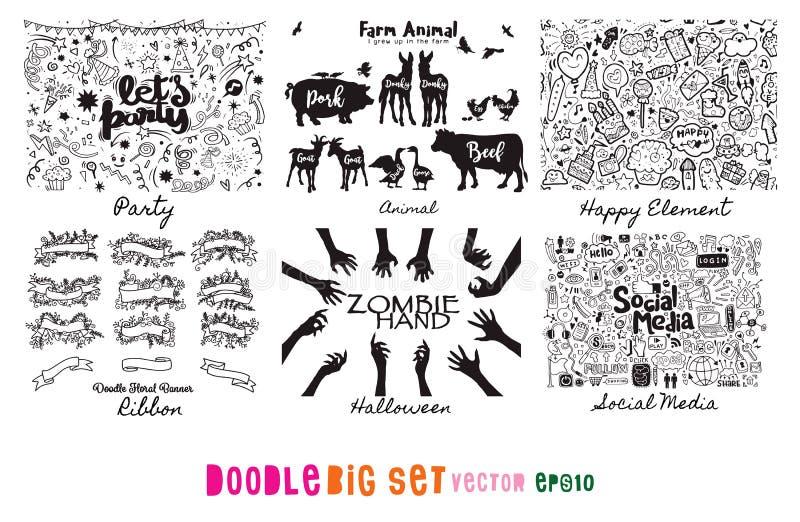 Gekritzel-großer Satz, Partei, Band, Tier, Bauernhof, glücklich, Medien, Zombie, H vektor abbildung