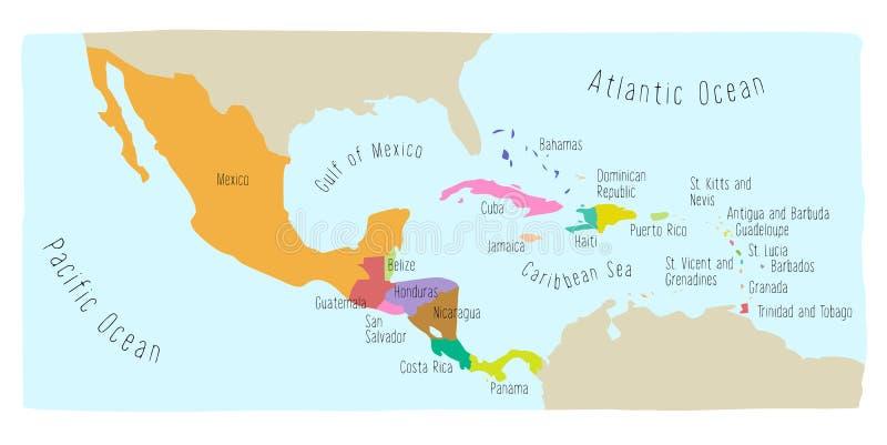 Gekritzel-Karte von Mittelamerika und von Mexiko vektor abbildung