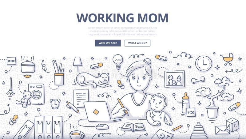 Gekritzel-Konzept der berufstätigen Mutter stock abbildung