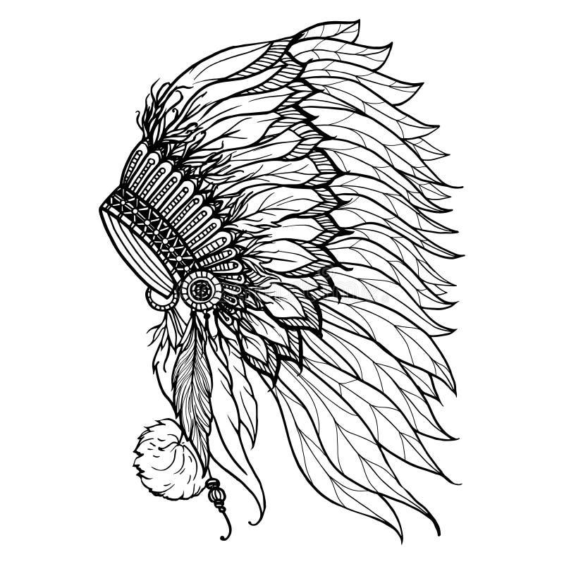 Gekritzel-Kopfschmuck für indischen Leiter vektor abbildung
