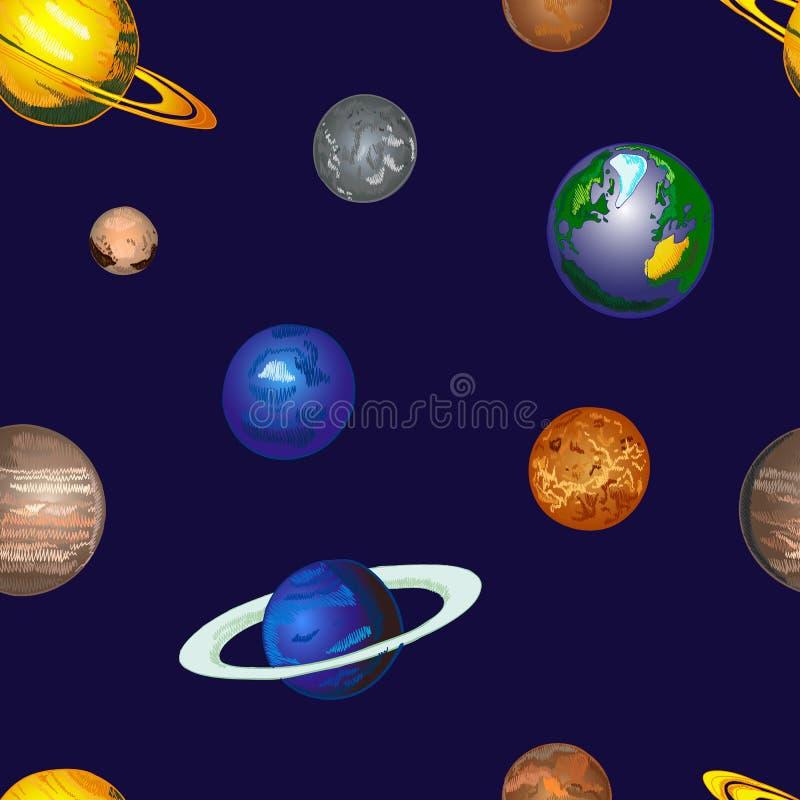 Gekritzel-Kosmos VEKTOR Hintergrund, nahtloses Muster, die gezeichnete Hand färbte Planeten auf bewölktem Himmel stock abbildung