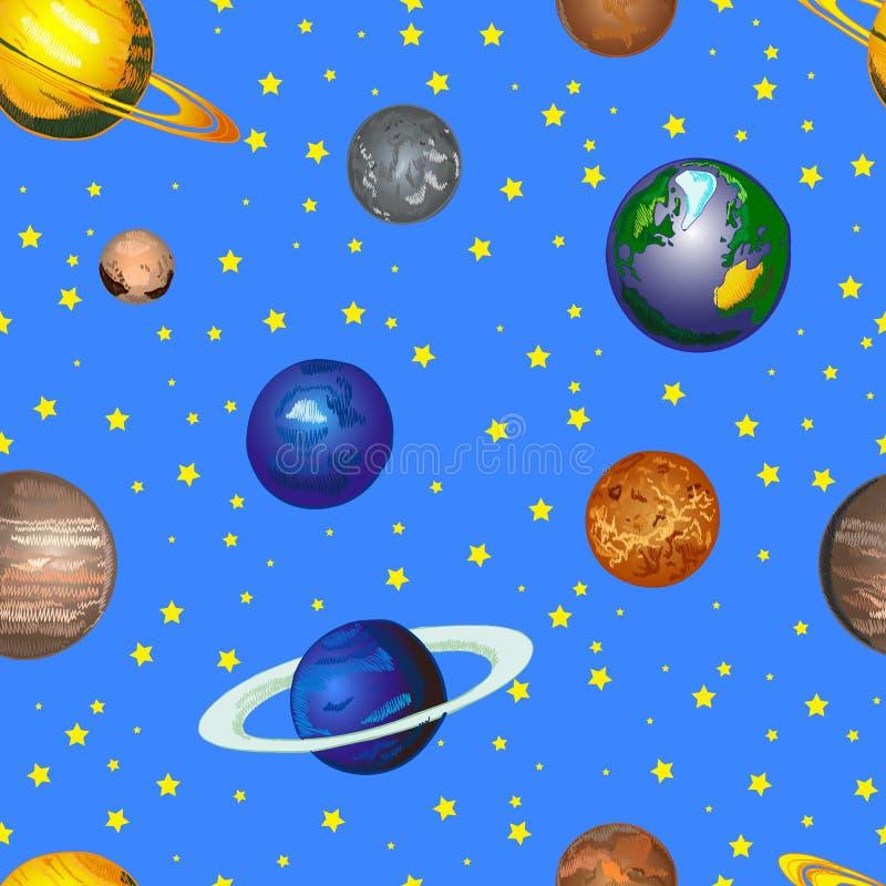 Gekritzel-Kosmos VEKTOR Hintergrund, nahtloses Muster, die gezeichnete Hand färbte Planeten auf hellem blauem Himmel vektor abbildung
