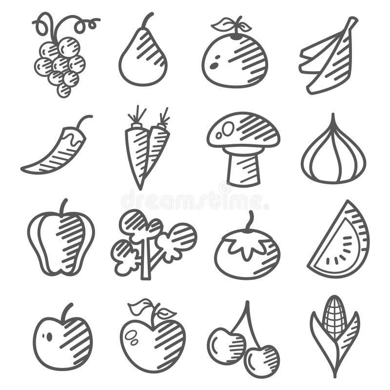 Gekritzel: Obst Und Gemüse Stockfotografie