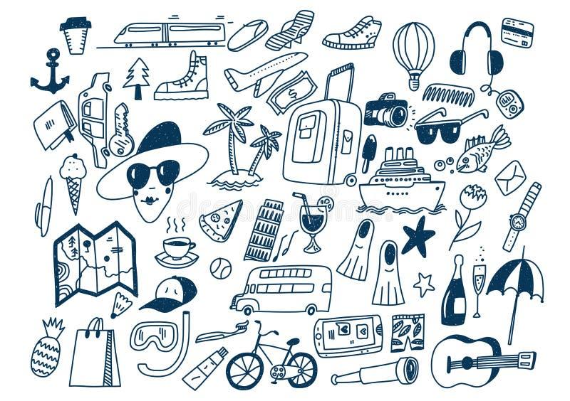 Gekritzel-Reisesymbole Tourismus und Reisen des Handabgehobenen betrages vektor abbildung