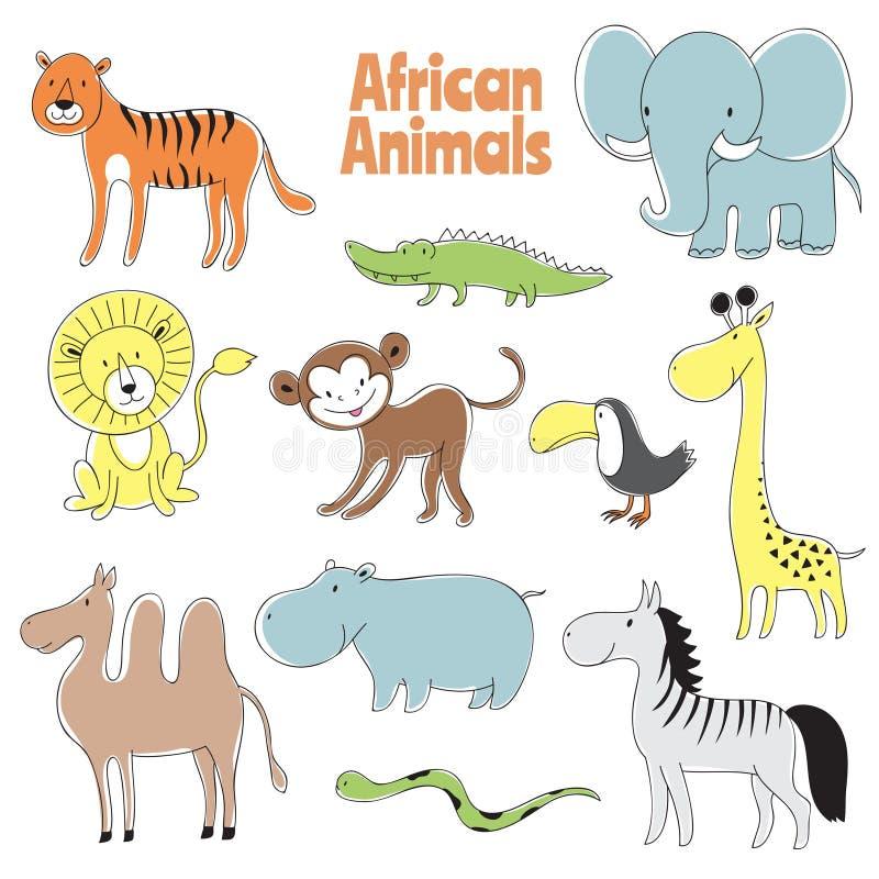 Gekritzel-Tiere LÖWE-, Affe- und Krokodil-, Elefant- und Giraffen-, Zebra- und Flusspferdvektorcharaktere des afrikanischen Babys stock abbildung