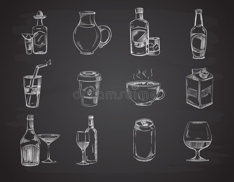 Gekritzel trinkt, wine, Bier, Flaschen Hand gezeichnete Getränkevektorsammlung stock abbildung