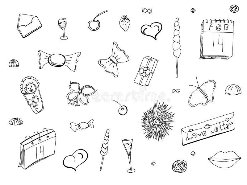 Gekritzel und Beschriften am Valentinstag Hand gezeichnete abstrakte Blumenabbildungen Liebe Vektor vektor abbildung