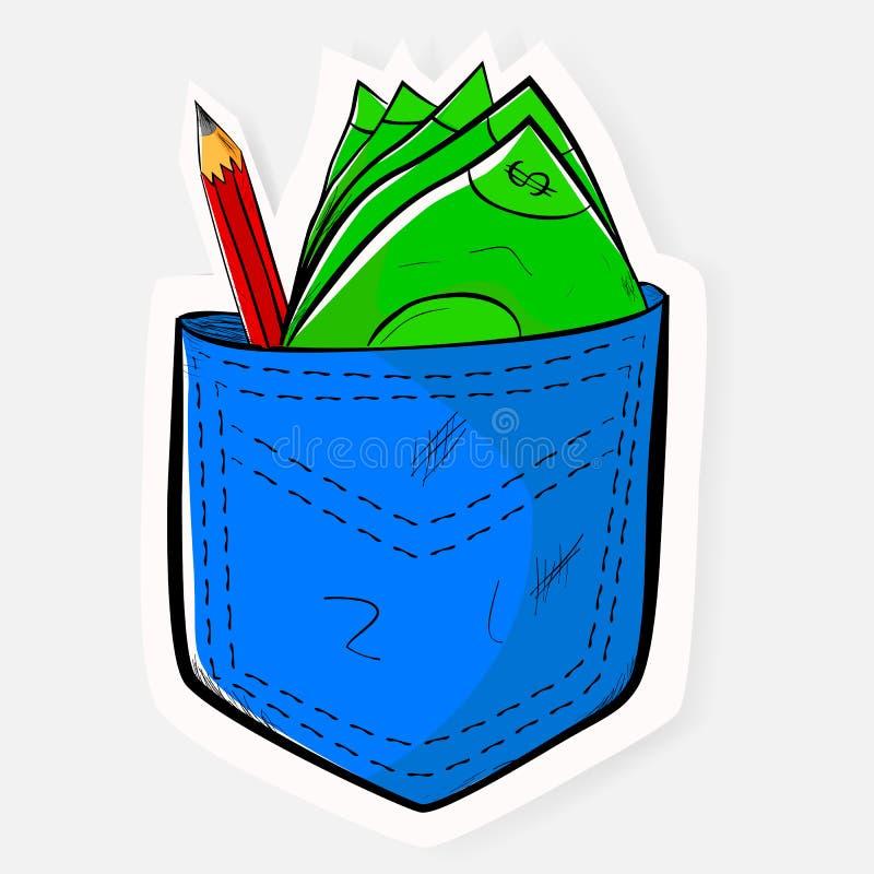 Gekritzel- und Papierschnittartdollargeld und -bleistift an der Blue Jeans-Gesäßtasche mit weichem Schatten lizenzfreie abbildung