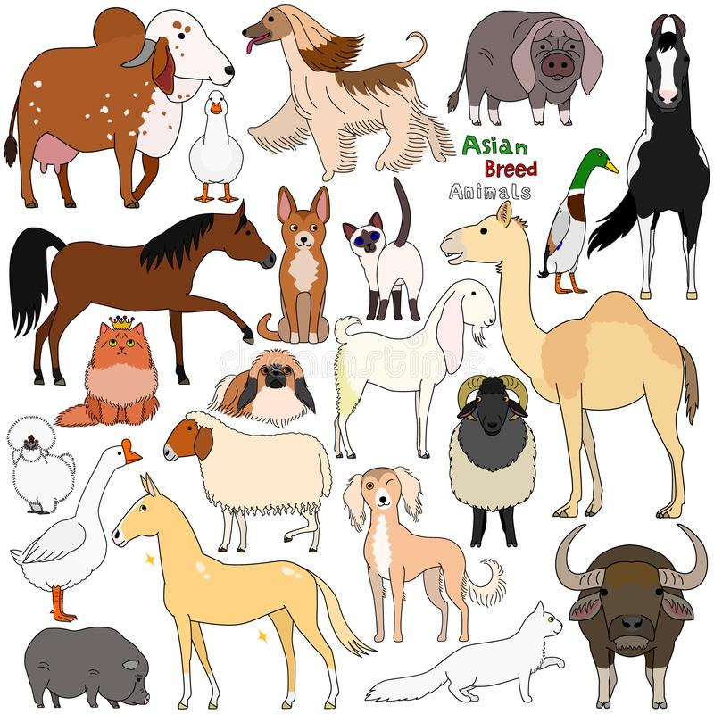Gekritzel von Haustieren der asiatischen Zucht stock abbildung