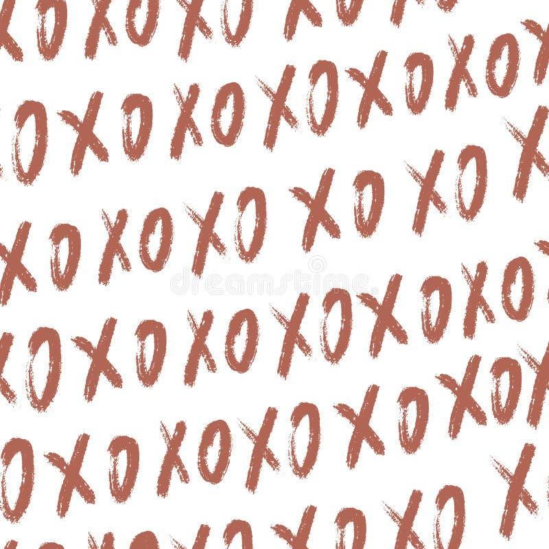Gekritzel xo xo nahtloser Musterhintergrund Abstrakte rosa Kontrolle und rundes Muster f?r Entwurfst-shirt, Valentinstagkarte lizenzfreie stockfotos