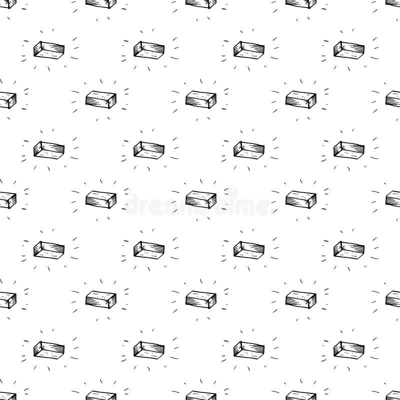 Gekritzel-Ziegelsteinikone des nahtlosen Musters Handdrawn r Zeichensymbol Eingelassenes Genua, Italien Wei?er Hintergrund lizenzfreie abbildung