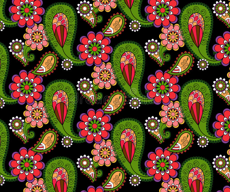 Gekritzelabstraktes Blumenvektormuster stockbild