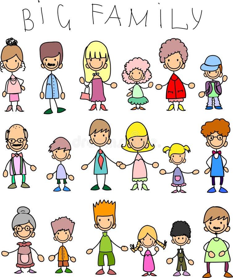 Gekritzelbauteile der großen Familien vektor abbildung