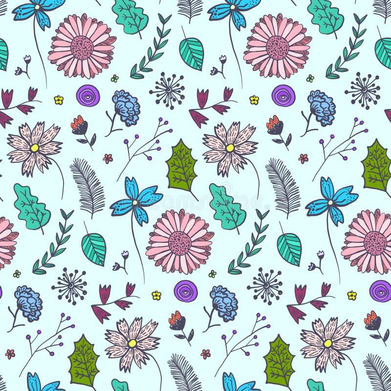 Gekritzelblaues Blumenmuster mit bunten Blumen lizenzfreie abbildung