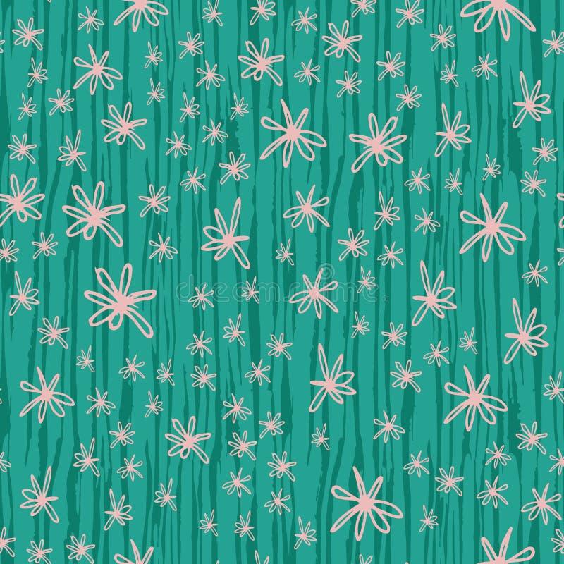 Gekritzelblumen auf gestreiftem Hintergrund des vertikalen Bürstenanschlag-Grüns Angespornt durch blühende Kaktushaut Nahtloses M stock abbildung