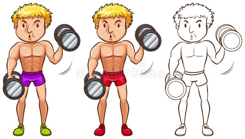 Gekritzelcharakter für den Mann, der Gewichtheben tut vektor abbildung