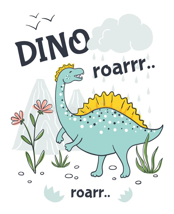 Gekritzeldinosaurierplakat Tiercharakter der netten Karikatur, Handgezogener freundlicher Babydrache Vektorskizzen-Druckentwurf stock abbildung