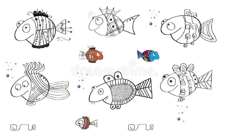 Gekritzelfischkarikaturozeanschwimmenstamm-Blasenspaß lizenzfreies stockbild