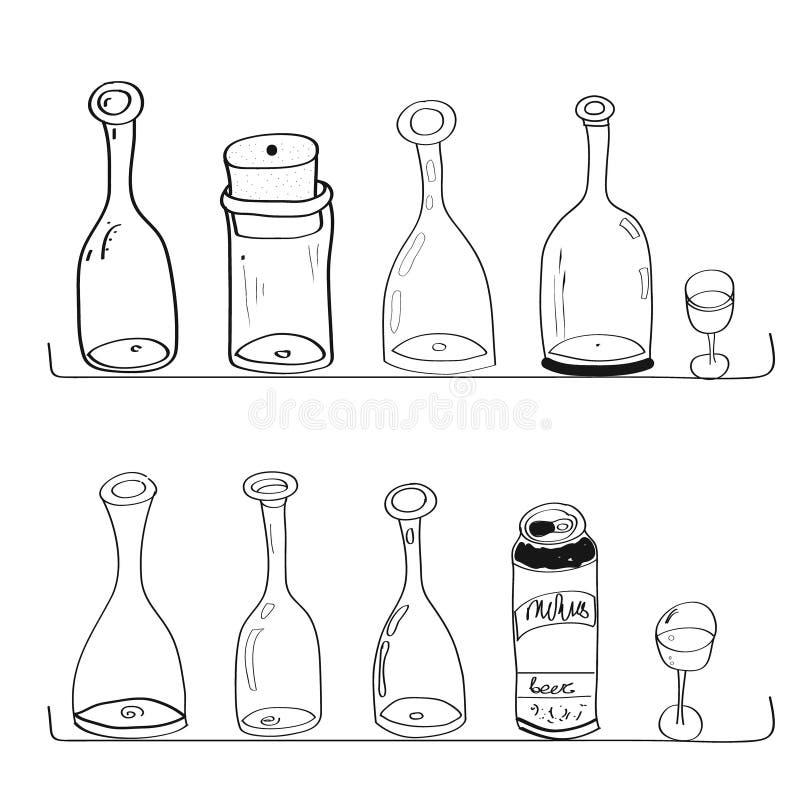 Gekritzelflaschenweinschläuchekurvenabendessen-Artkochen stockfotos