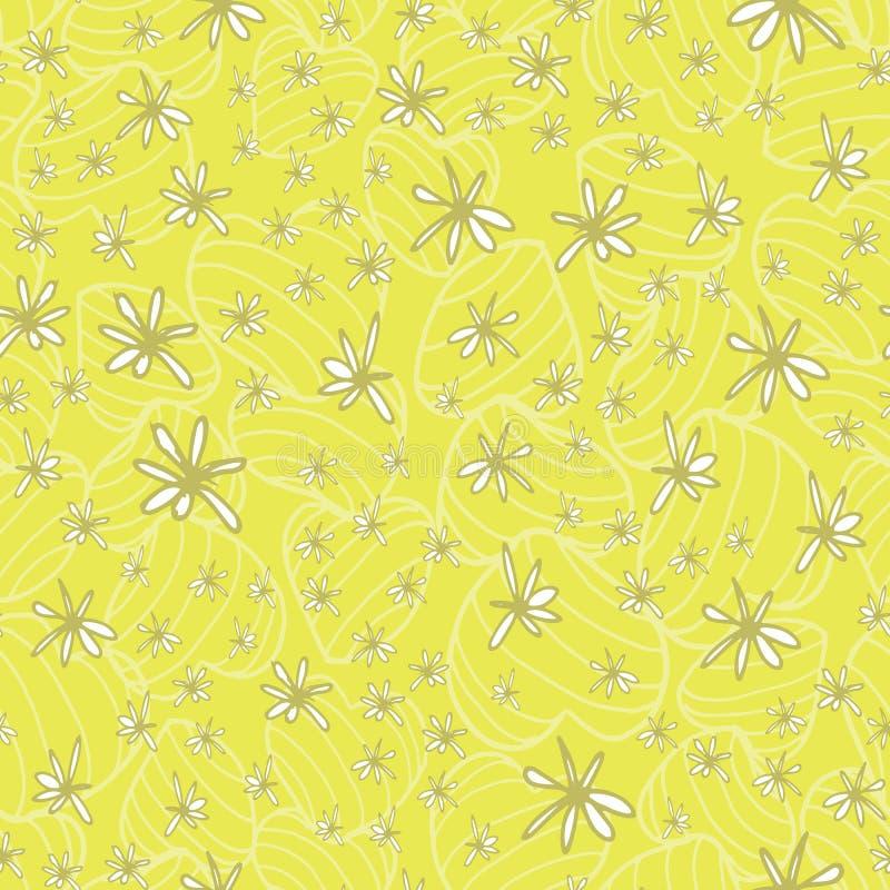 Gekritzelhandgezogene weiße Blumen legten auf ein subtiles Muster von gestreiften federnd Herzen in einen neuen grünen gelben Ton vektor abbildung