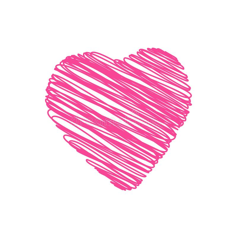 Gekritzelhandgezogenes Herz formte vektor abbildung