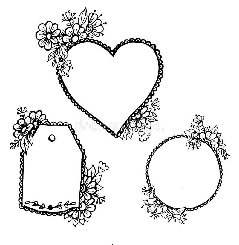 Gekritzelherzmuster, ein Oval und ein Aufkleber mit Blumen vektor abbildung