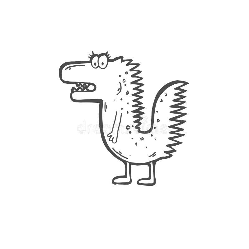 Gekritzelikone des dummen lustigen Krokodils lizenzfreie abbildung