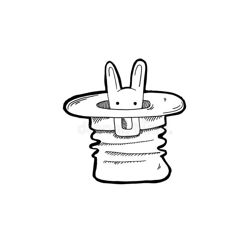 Gekritzelikone von Kaninchenblicken aus dem ha eines Magiers heraus stock abbildung