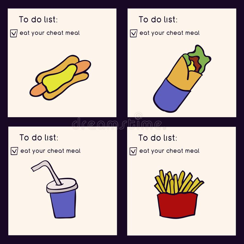 Gekritzelillustration des Schnellimbisses Ungesunde Fertigkost Essen Sie Ihre Betrügermahlzeit Übergeben Sie die gezogene Vektori stock abbildung