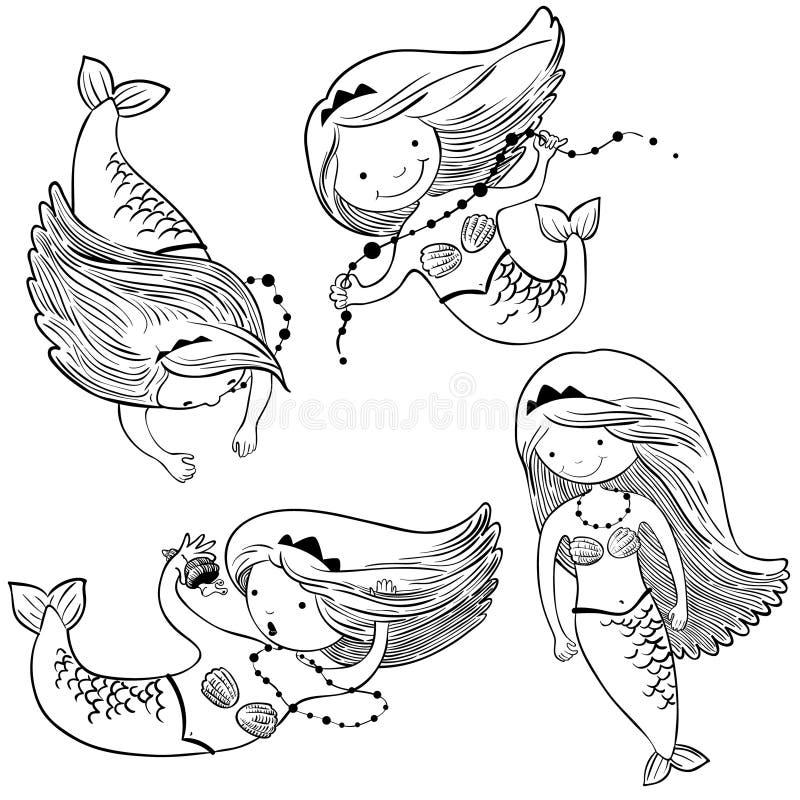 Gekritzelillustration eingestellt mit netten Meerjungfrauen stock abbildung