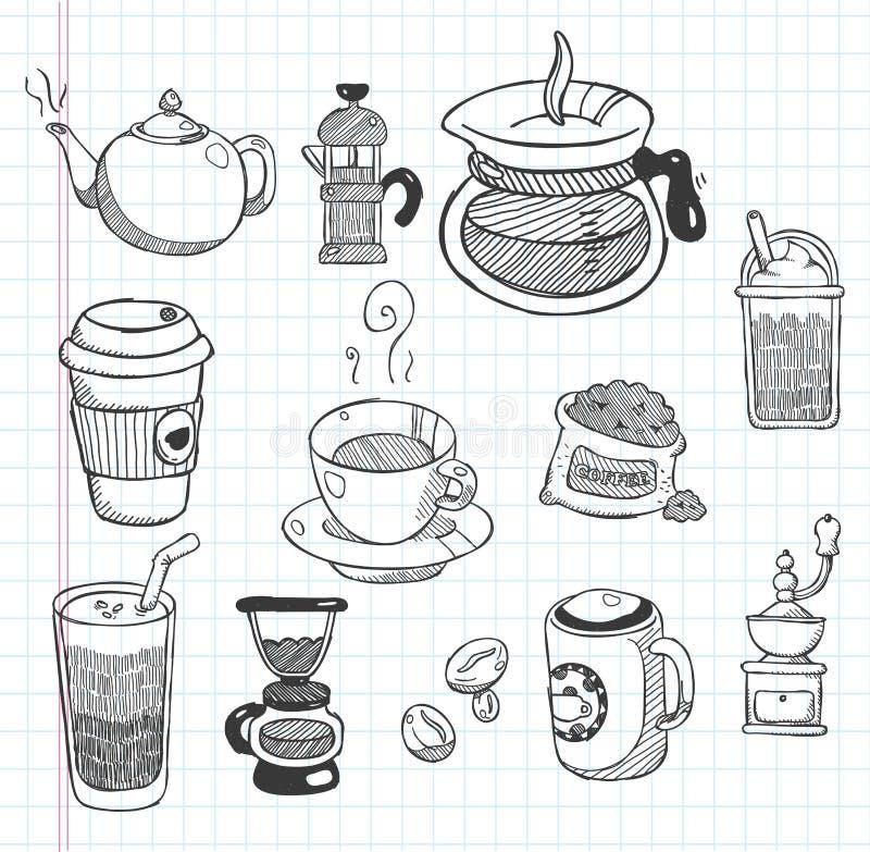 Gekritzelkaffeeikonen lizenzfreie abbildung